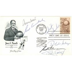 Basketball Hall of Famers Signed 1961 FDC Envelope with (6) Including Wilt Chamberlain, Jerry West,