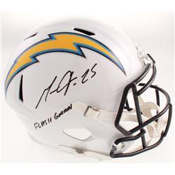 "Melvin Gordon Signed Los Angeles Chargers Full-Size Speed Helmet Inscribed ""Flash Gordon"" (Radtke CO"