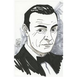 """Tom Hodges - James Bond - Sean Connery - Signed ORIGINAL 5.5"""" x 8.5"""" Color Drawing on Paper (1/1)"""