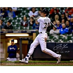 "Christian Yelich Signed Milwaukee Brewers 16x20 Photo Inscribed ""18 NL MVP"" (MLB Hologram  Fanatics"