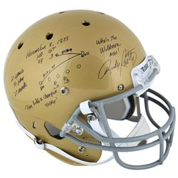 Rudy Ruettiger Signed Notre Dame Fighting Irish Full-Size Helmet with Multiple Inscriptions  Hand-Dr