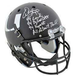 Warren Sapp Signed Miami Hurricanes Matte Black Full-Size Helmet with Multiple Career Stat Inscripti