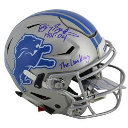 "Barry Sanders Signed Detroit Lions Full-Size Authentic On-Field SpeedFlex Helmet Inscribed ""The Lion"