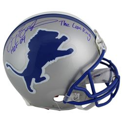 "Barry Sanders Signed Detroit Lions Full-Size Authentic On-Field Helmet Inscribed ""HOF 04""  ""The Lion"