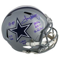 Tony Dorsett Signed Dallas Cowboys Full-Size Speed Helmet with Multiple Career Stat Inscriptions (Be