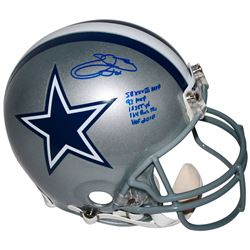 Emmitt Smith Signed Dallas Cowboys Full-Size Authentic On-Field Helmet with Multiple Career Stat Ins