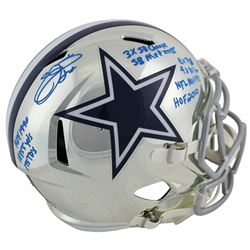 Emmitt Smith Signed LE Dallas Cowboys Full-Size Chrome Speed Helmet with Multiple Career Stat Inscri