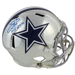 "Emmitt Smith Signed Dallas Cowboys Full-Size Chrome Speed Helmet Inscribed ""HOF 2010"" (Beckett COA"