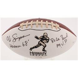 """O. J. Simpson Signed LE Heisman Trophy Logo Football Inscribed """"Heisman 68'""""  """"Rose Bowl M.V.P"""" (JSA"""