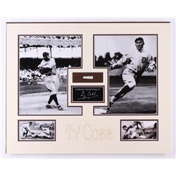 Ty Cobb 16x20 Custom Matted Photo Display with (1) Hand-Written Word From Letter (PSA LOA Copy)