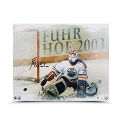 """Grant Fuhr Signed Edmonton Oilers LE """"Kick Save"""" 16x20 Photo (UDA COA)"""