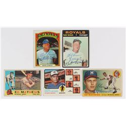 Lot of (5) Signed Baseball Cards with (3) Eddie Mathews Signed Cards  (2) Bob Lemon Signed Cards (JS