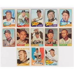 Lot of (13) Signed Baseball Cards with Johnny Podres Signed 1965 Topps #387  Al Lopez Signed 1961 To