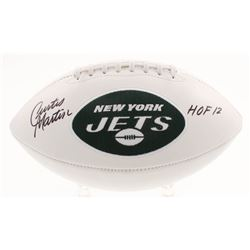 """Curtis Martin Signed New York Jets Logo Football Inscribed """"HOF 12"""" (Beckett COA)"""
