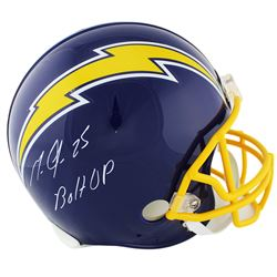 """Melvin Gordon Signed Los Angeles Chargers Full-Size Authentic On-Field Throwback Helmet Inscribed """"B"""