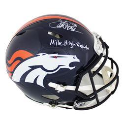 "Terrell Davis Signed Denver Broncos Full-Size Authentic On-Field Speed Helmet Inscribed ""Mile High S"
