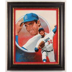Sandy Koufax Signed Brooklyn Dodgers 22x26 Custom Framed Original Painting Display (PSA LOA)