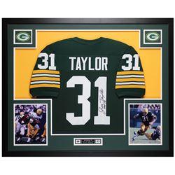 """Jim Taylor Signed 35x43 Custom Framed Jersey Inscribed """"HOF 76"""" (JSA COA)"""