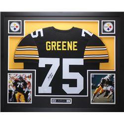 "Joe Greene Signed 35x43 Custom Framed Jersey Inscribed ""HOF 87"" (JSA COA)"