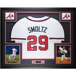 John Smoltz Signed 35x43 Custom Framed Jersey (JSA COA)