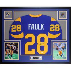 Marshall Faulk Signed 35x43 Custom Framed Jersey (JSA COA)