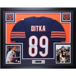 Mike Ditka Signed 35x43 Custom Framed Jersey (JSA COA)