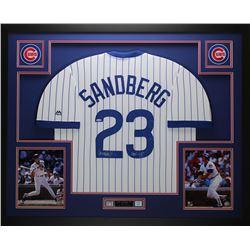 """Ryne Sandberg Signed 35x43 Custom Framed Jersey Inscribed """"HOF 05"""" (TriStar Hologram)"""