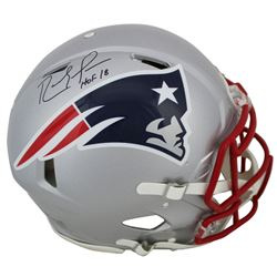 "Randy Moss Signed New England Patriots Full-Size Authentic On-Field Speed Helmet Inscribed ""HOF 18"""
