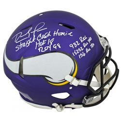 Randy Moss Signed Minnesota Vikings Full-Size Matte Purple Authentic On-Field Speed Helmet with Mult