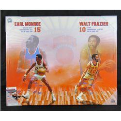 "Walt Frazier  Earl Monroe Signed 24x30 New York Knicks Framed Canvas Inscribed ""HOF 1987""  ""HOF 1990"