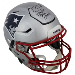 """Randy Moss Signed New England Patriots Full-Size Authentic On-Field SpeedFlex Helmet Inscribed """"Stra"""