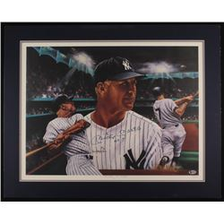 """Mickey Mantle Signed LE New York Yankees """"Mickey At Night"""" 24x30 Custom Matted Lithograph Inscribed"""