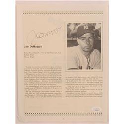 Joe DiMaggio Signed Magazine Page (JSA LOA)