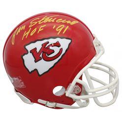 """Jan Stenerud Signed Kansas City Chiefs Mini Helmet Inscribed """"HOF '91"""" (Beckett COA)"""