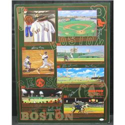 Boston Red Sox Poster Team-Signed By (9) With Carlton Fisk, Bobby Doerr, Johnny Pesky, Rico Petrocel
