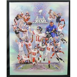 """New York Giants """"Super Bowl XLVl"""" 32x40 Canvas Signed By (5) With Victor Cruz, Jason Pierre Paul, St"""