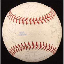 1966 New York Mets ONL Baseball Team-Signed by (32) with Yogi Berra, Whitey Herzog, Ed Kranepool (JS