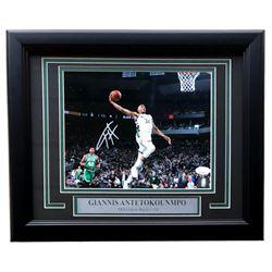 Giannis Antetokounmpo Signed Bucks 11x14 Custom Framed Photo Display (JSA COA)