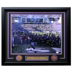 "Ray Lewis Signed Baltimore Ravens 22x27 Custom Framed Photo Display Inscribed ""Last Dance 1/6/13"" (J"