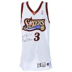 "Allen Iverson Signed 1999-2000 Philadelphia 76ers Game-Used Jersey Inscribed ""God Bless"" (Mears LOO"