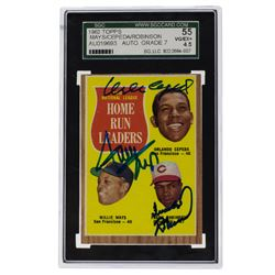 Orlando Cepeda, Willie Mays  Frank Robinson Signed 1962 Topps #60 NL Strikeout Leaders (SGC 4.5)