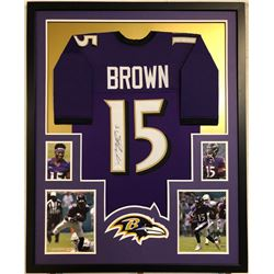 Marquise Brown Signed 34x42 Custom Framed Jersey (JSA COA)