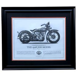 "Harley-Davidson ""The 1928 JDH Model"" 23x27 Custom Framed Print Display"