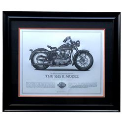 "Harley-Davidson ""The 1953 K Model"" 23x27 Custom Framed Print Display"
