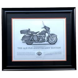 "Harley-Davidson ""The 1978 FLH Anniversary Edition"" 23x27 Custom Framed Print Display"