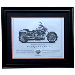 "Harley-Davidson ""The 2003 VRSCA V-ROD"" 23x27 Custom Framed Print Display"