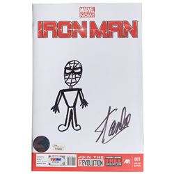 "Stan Lee Signed 2014 ""Iron Man"" Variant Cover Issue #1 Marvel Comic Book with Original Spider-Man Sk"