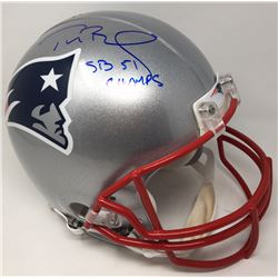 "Tom Brady Signed New England Patriots Full-Size Authentic On-Field LE Helmet Inscribed ""SB 51 Champs"