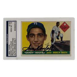 Sandy Koufax Signed 1955 Topps #123 (PSA Encapsulated)
