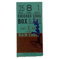 Ron Santo Signed 1961 Ticket Stub (JSA COA)